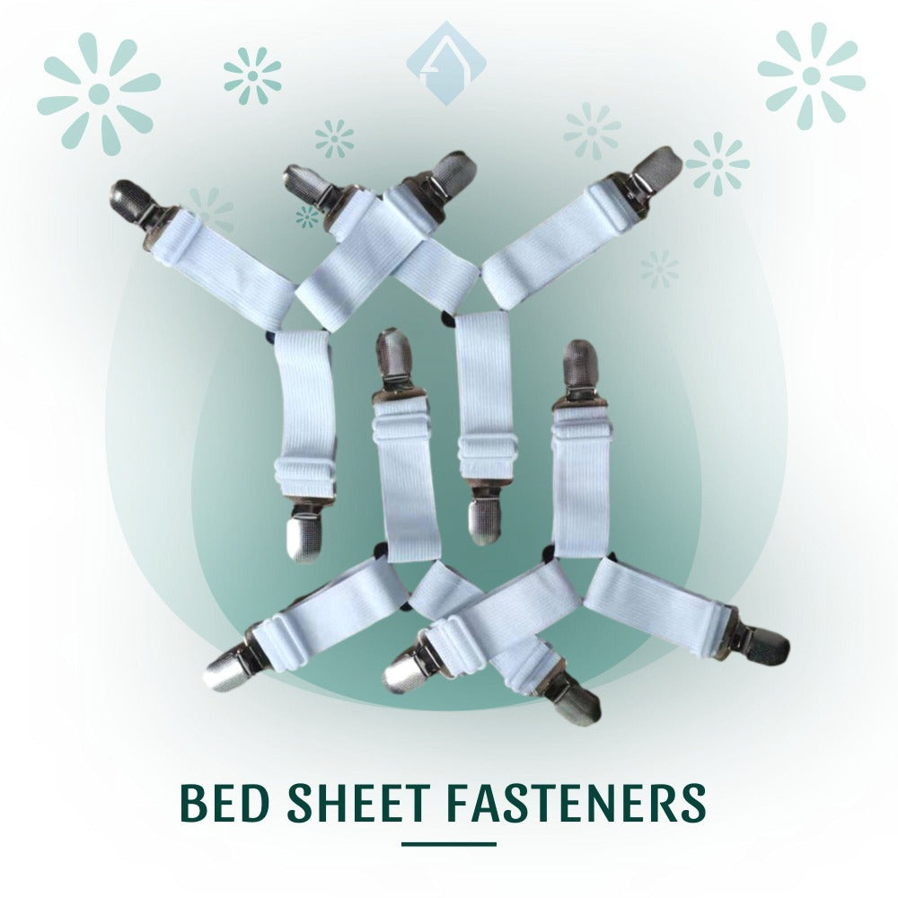 4 White Bed Sheet Fasteners | Another Ideal Shop