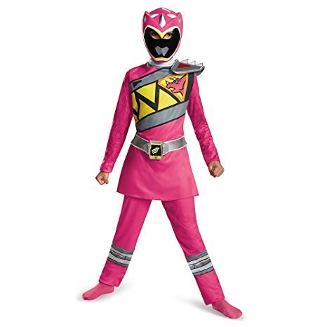 DISFRAZ ORIGINAL POWER RANGER ROSA DINO CHARGE CON MASCARA