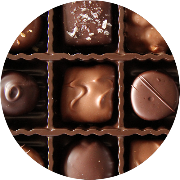 Assorted Chocolates handmade in the midwest by Kalona Chocolates. Gift boxes make perfect gifts for chocolate addicts and Iowa lovers!
