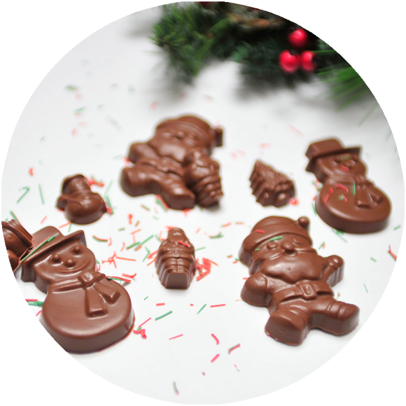 Molded chocolate santas and molded chocolate snowmen - made in Iowa.