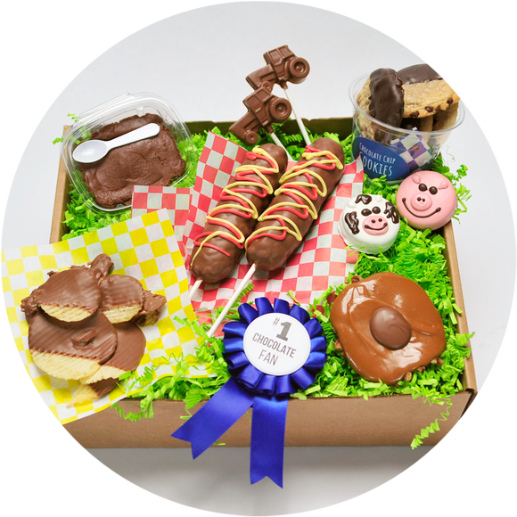 The state fair box includes an assortment of chocolate treats inspired by the fair. These handmade goodies were made in Kalona, Iowa.