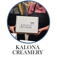 Gift boxes from Kalona Creamery to purchase for shopping.