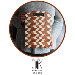 Checkered clipboard made in Kalona, Iowa by JK Creative Wood for holiday gifts.