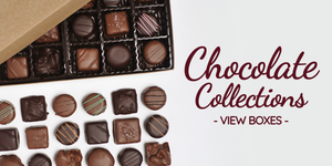Chocolate collection box filled with handmade truffles, caramels, toffee, and more - all from Kalona, Iowa.