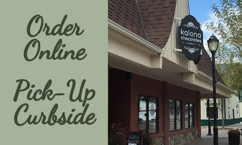 Order Kalona Chocolates gift boxes online and pickup curbside in downtown Kalona, Iowa.