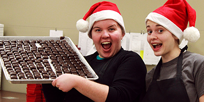 Making Christmas chocolates at Kalona Chocolates.