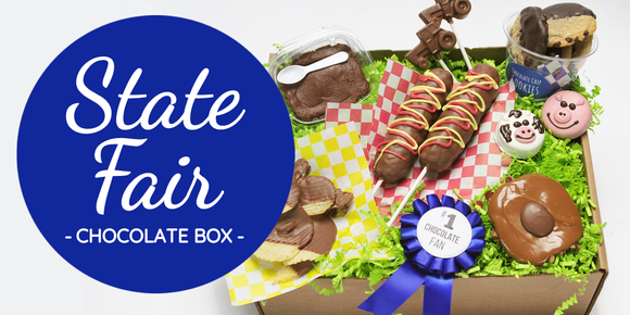 The state fair chocolate gift boxes includes several chocolate treats inspired by the fair. These boxes make unique gifts for anyone missing the fair this year.
