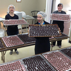 Making chocolate truffles at Kalona Chocolates.