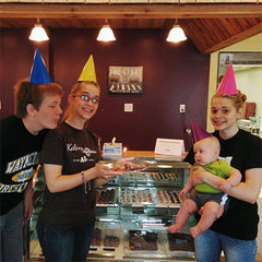Celebrating the one-year-anniversary of the Kalona Chocolates retail store.