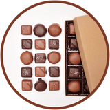 A chocolate collection of 15 handmade caramels from Kalona, Iowa.