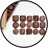Handmade dark chocolates, packaged in a beautiful gift box. Made in Kalona, Iowa.
