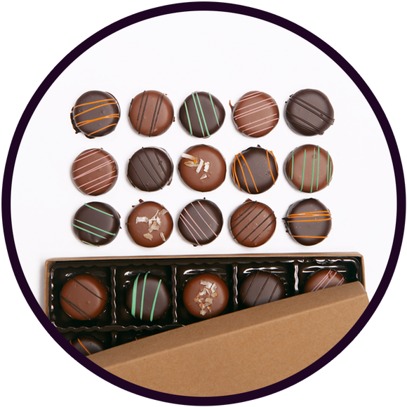 Gift box of handmade flavored truffles made in Kalona, Iowa.