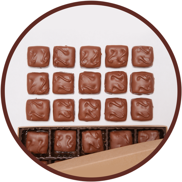 15 pieces of handmade pecan english toffee candy from Kalona, Iowa.