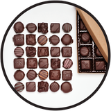 Large dark chocolate gift collection from Kalona, Iowa.