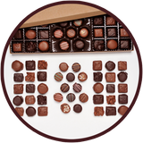 Handmade milk chocolates and dark chocolates collection in a large gift box.