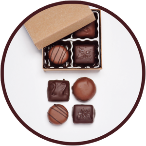 Milk chocolates and dark chocolates collection in a medium gift box.
