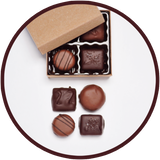 Handmade milk chocolates and dark chocolates collection in a mini gift box.