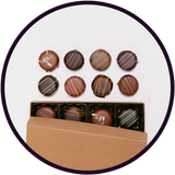 Small box of assorted chocolate truffles handmade in the midwest.