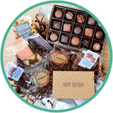 Large birthday chocolate gift boxes include a card and handmade chocolates from Kalona, Iowa.