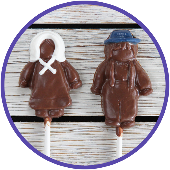 Chocolate lollipops made in Kalona, Iowa of Amish boy and Amish girl from the Kalona Amish community.