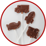 Hand molded chocolate lollipops make great gifts for kids! We have trucks, planes, rockets, and trains.
