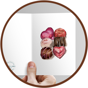 Greeting card with painted chocolates to include with a gift box of chocolates.