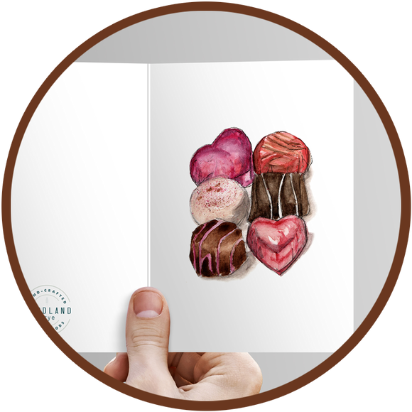 Greeting card with painted chocolates to include with a gift of chocolates.