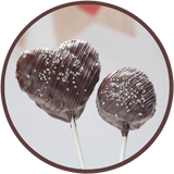 Cocoa Krispie Pops covered in dark chocolate for Valentines day chocolates.