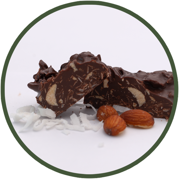 Salted almonds and coconut flakes dipped in dark chocolate make a nutrient-packed chocolate treat!