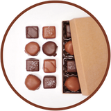 A small handmade chocolate collection of 8 caramels from Kalona, Iowa.