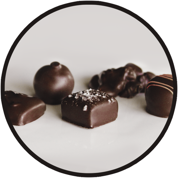 Dark chocolates handmade in the kitchen of Kalona Chocolates, located in downtown Kalona, Iowa
