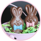 Cute chocolate bunny from Kalona Chocolates, with colored bow ties.