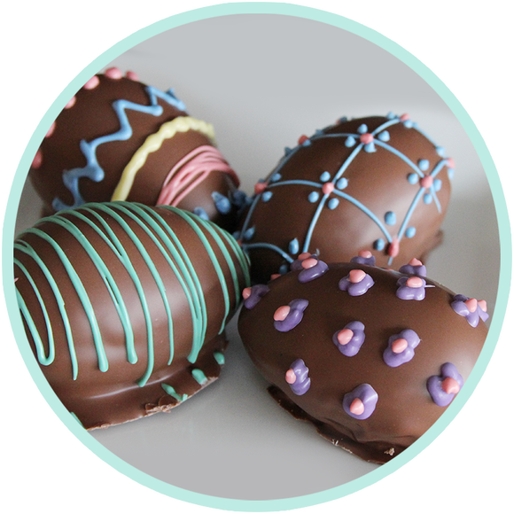 Easter chocolate from Kalona, Iowa. Handmade and decorated fudge eggs by Kalona Chocolates