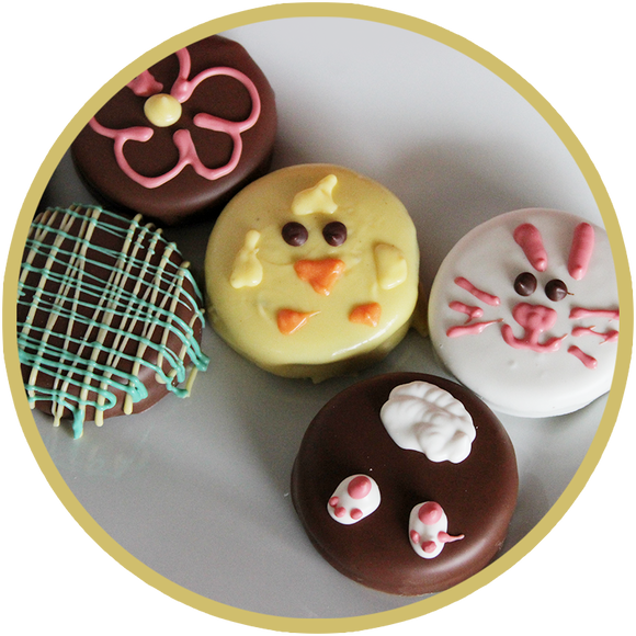 Decorated Oreo Cookies by Kalona Chocolates. Easter chocolates handmade in the midwest.