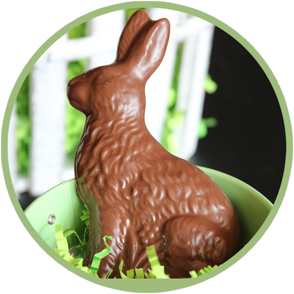 Chocolate Easter Rabbit for delicious Easter candy hand molded in Kalona, Iowa.