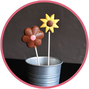 Chocolate flowers and chocolate butterfly lollipops for kids! They make cute summer gifts for kids and are made in Kalona, Iowa.