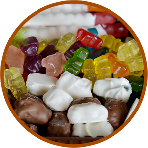 Chocolate covered gummy bears and chocolate covered gummy bears by Kalona Chocolates. White chocolate and milk chocolate!