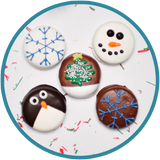 Christmas chocolate Oreos decorated as snowman, christmas tree, snowflakes, and penguin. Great Christmas gift for kids!