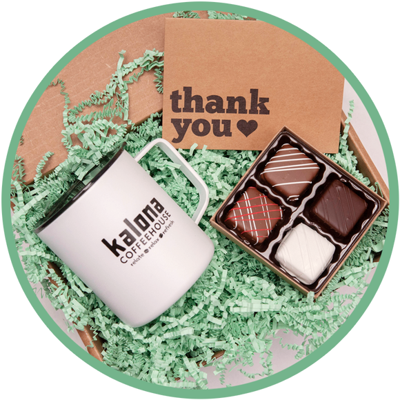 A coffee lovers thank you gift box that has java bites chocolates, kalona coffee house cup, and thank you card.