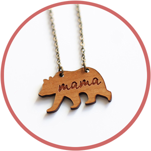 Mama Bear necklace made in Kalona Iowa by woodworkers with cherry wood.