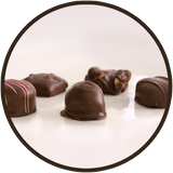 An assortment of milk chocolate, chocolates from Kalona Chocolates