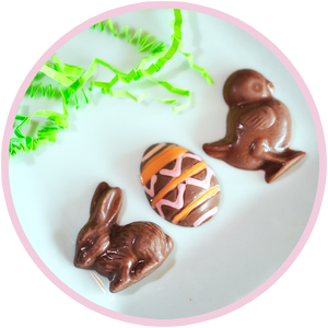 Mini bunny, chick, and egg chocolates to fill eggs and Easter baskets.