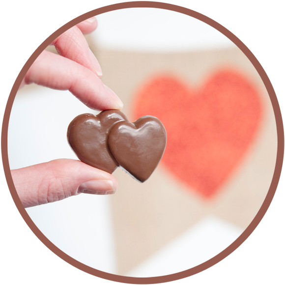 Mini milk chocolate double heart - molded and handmade in Kalona, Iowa.