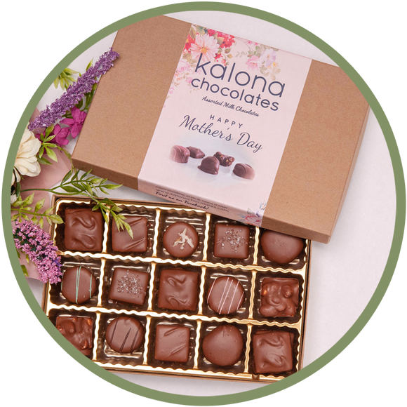 Mother's Day chocolate box with delicious handmade chocolates from Kalona, Iowa and a special Happy Mother's Day label.