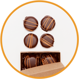 Small box of dark chocolate orange truffles handmade in Kalona, Iowa.