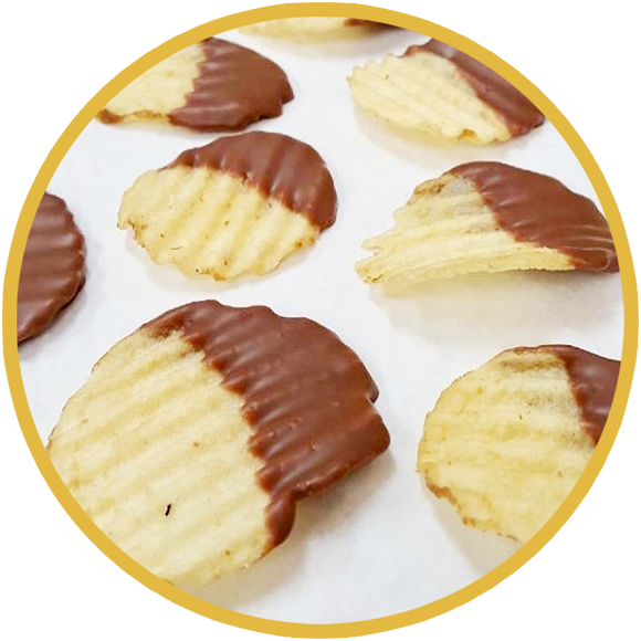 Potato chips hand dipped in chocolate! A novelty snacks that's great twist for parties.