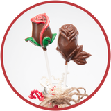 Molded chocolate roses made in southeast Iowa.