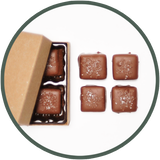 A small box of salted caramels - handmade chocolate gifts from Kalona, Iowa.