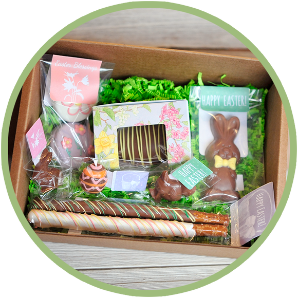 Easter Box, Easter Basket - filled with handmade chocolates by Kalona Chocolates