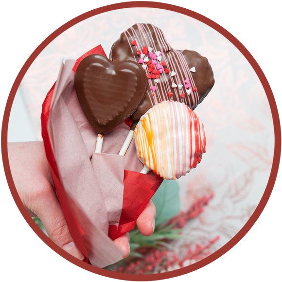 Chocolate valentine bouquet with chocolate hearts. Handmade in Kalona, Iowa.